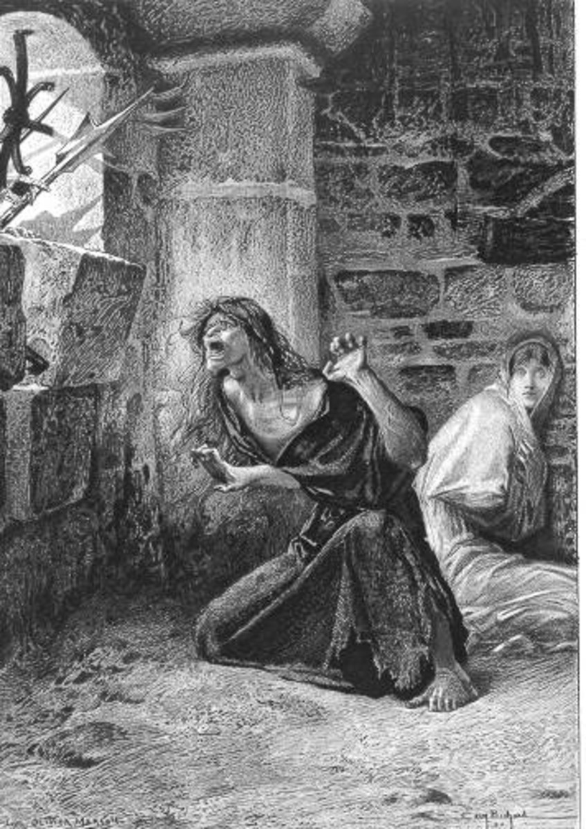 Luc Oliver Merson illustration of Sister Gudule and Esmeralda before Esmeralda is caught