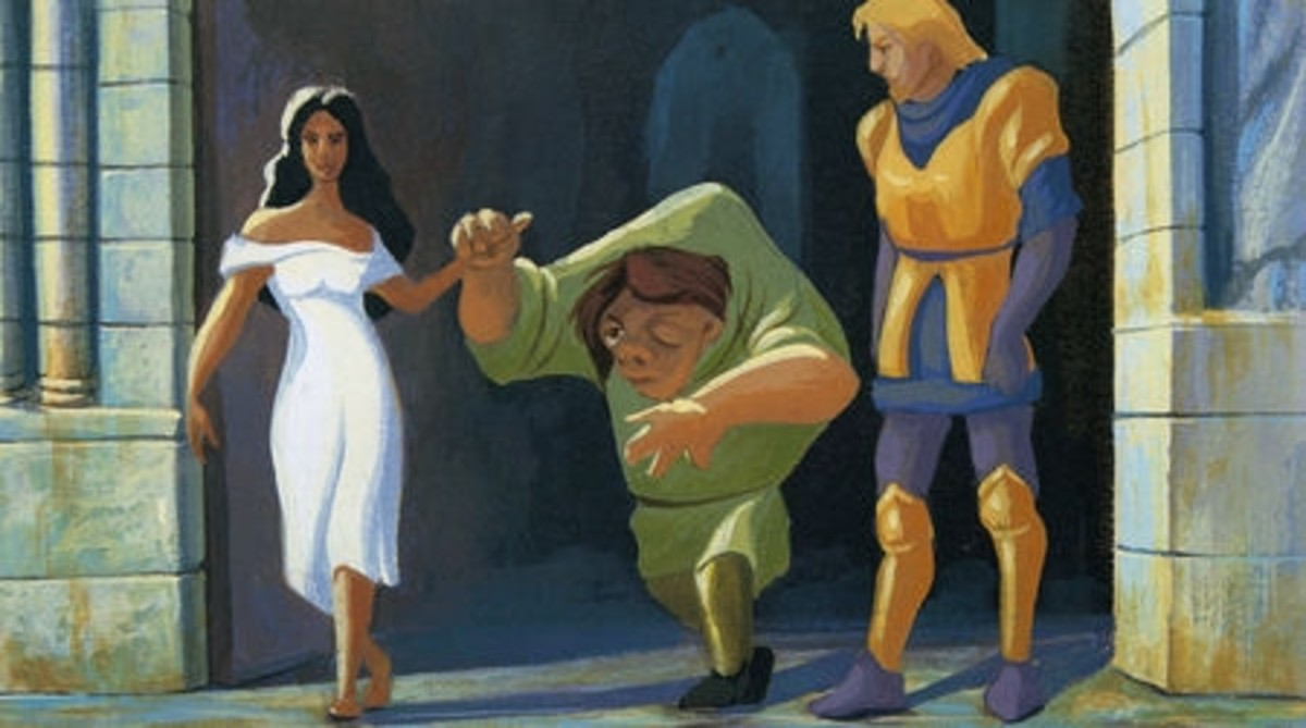 Concept Art of Quasimodo leaving Notre Dame with Esmeralda and Phoebus