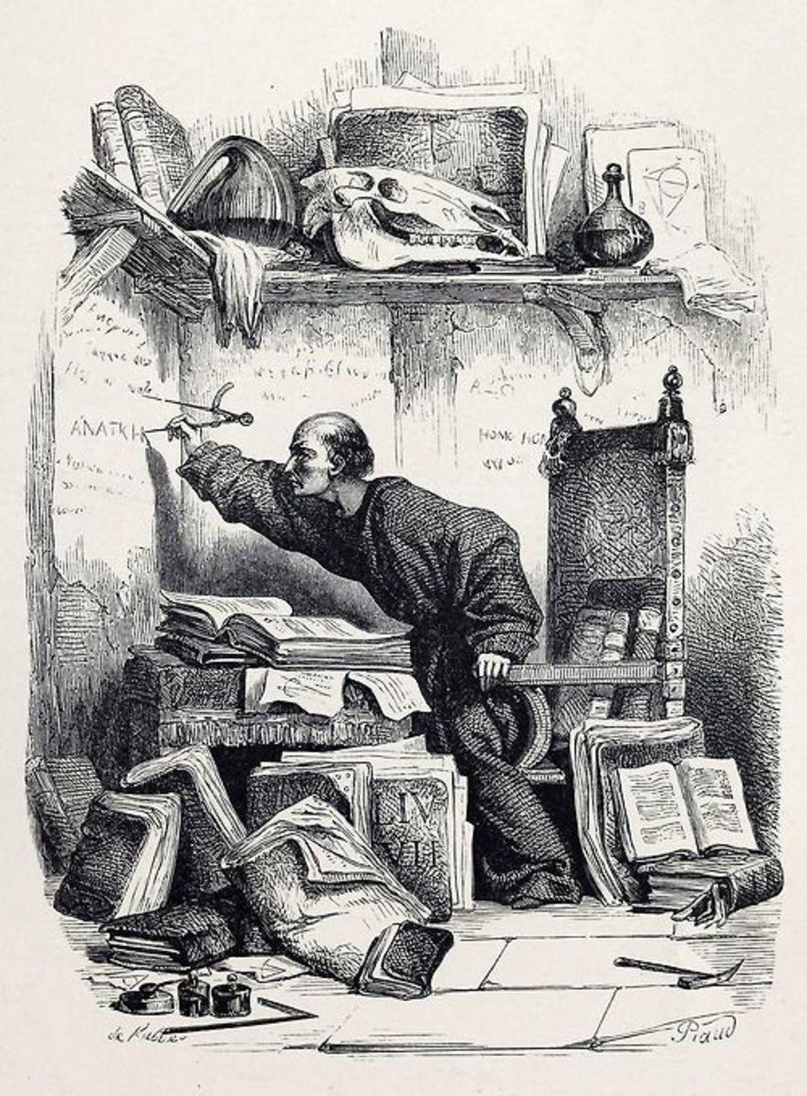 An illustration Frollo writing Anatkh