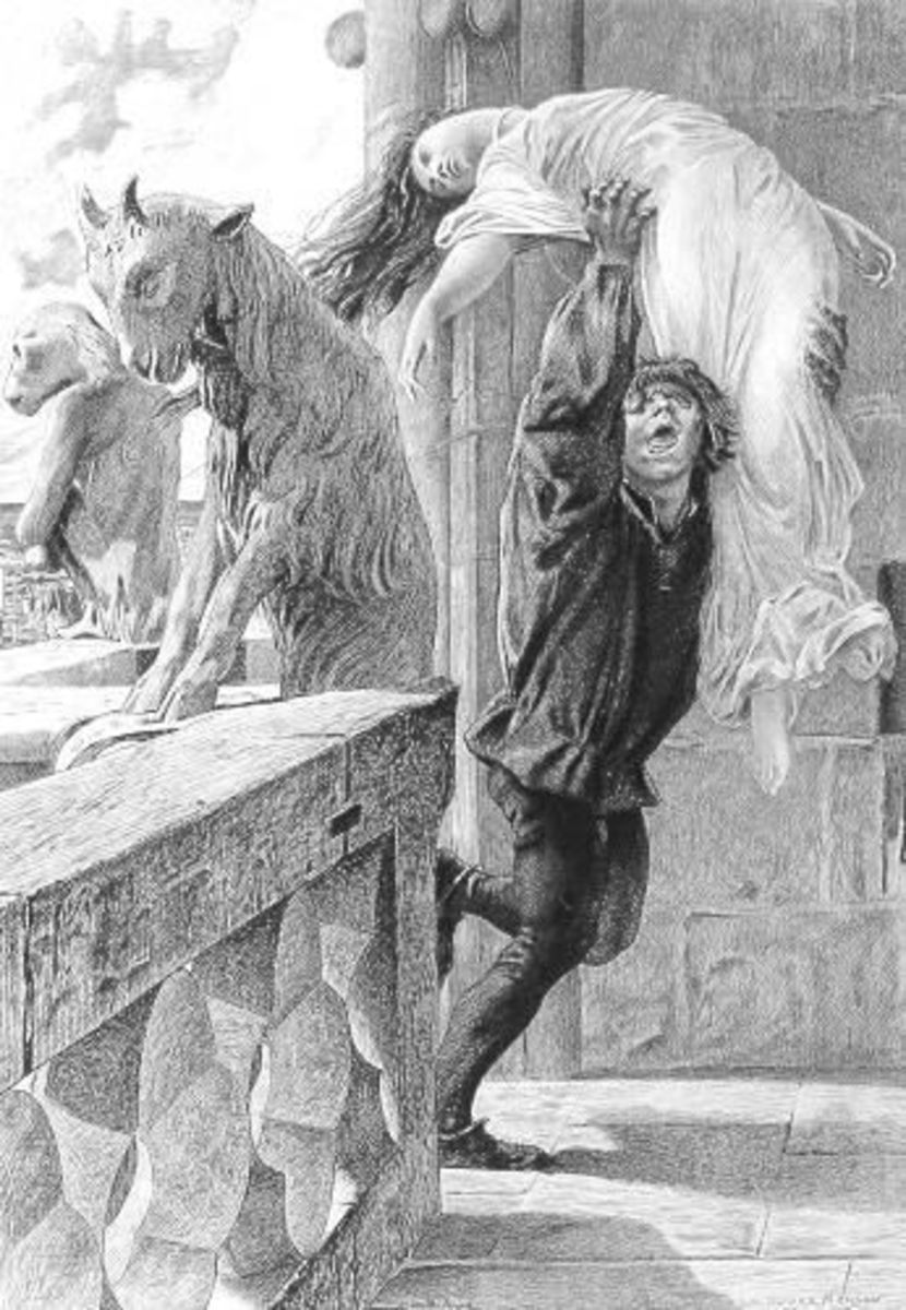 An Illustration of Quasimodo saving Esmeralda