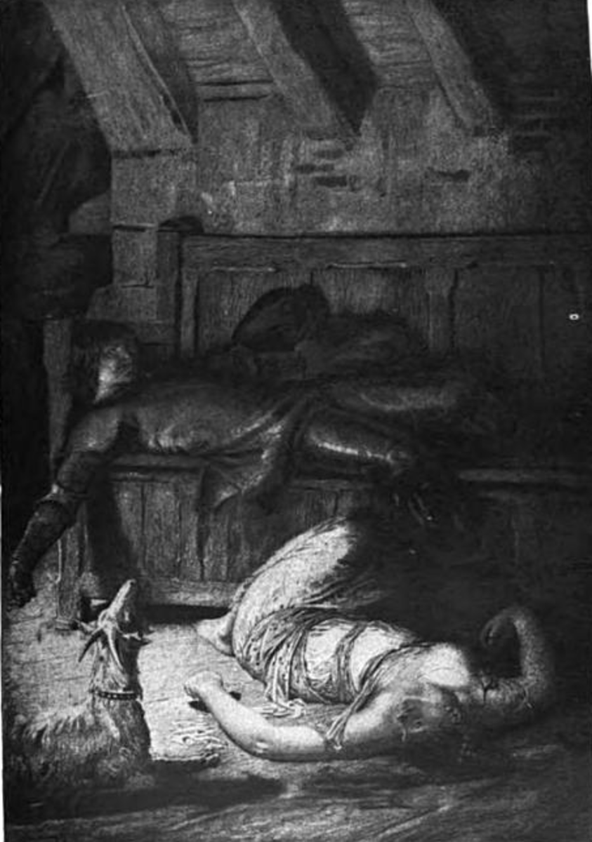 An Illustration of Phoebus and Esmeralda in the aftermath of Frollo's jealousy