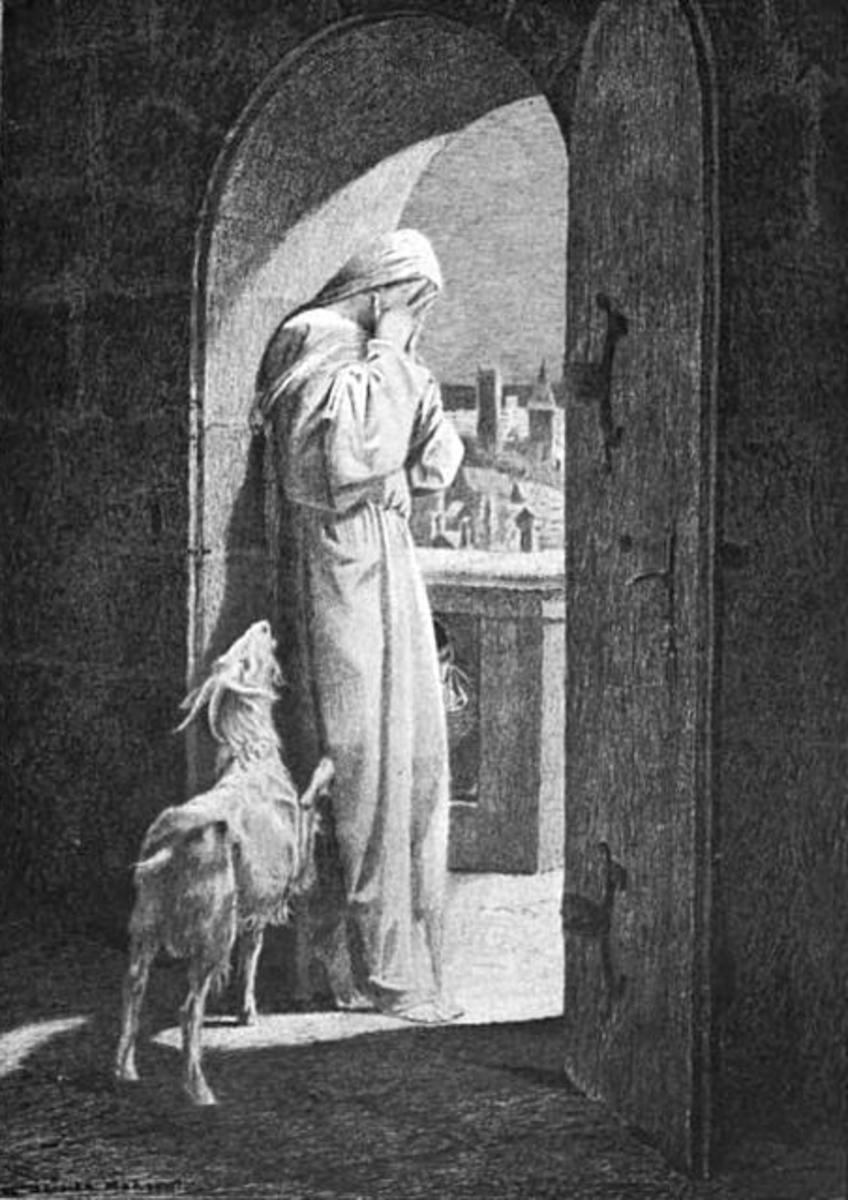 Esmeralda weeping in Notre Dame