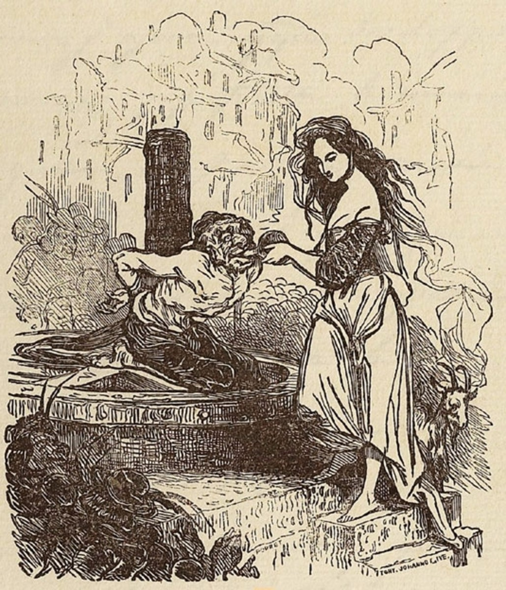 Esmeralda giving Quasimodo water Tony Johannot