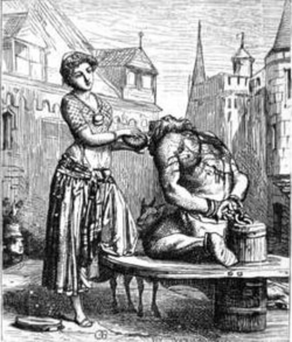 Esmeralda giving Quaismodo water Gustave Brion