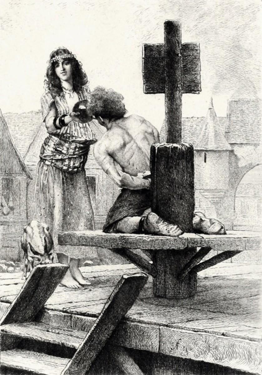 An Illustration of Emeralda giving water to Quasimodo Francois Flameng 1885