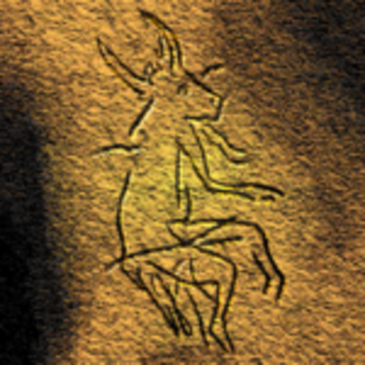 Dordogne, France, cave painting o a half-human, half-animal being.