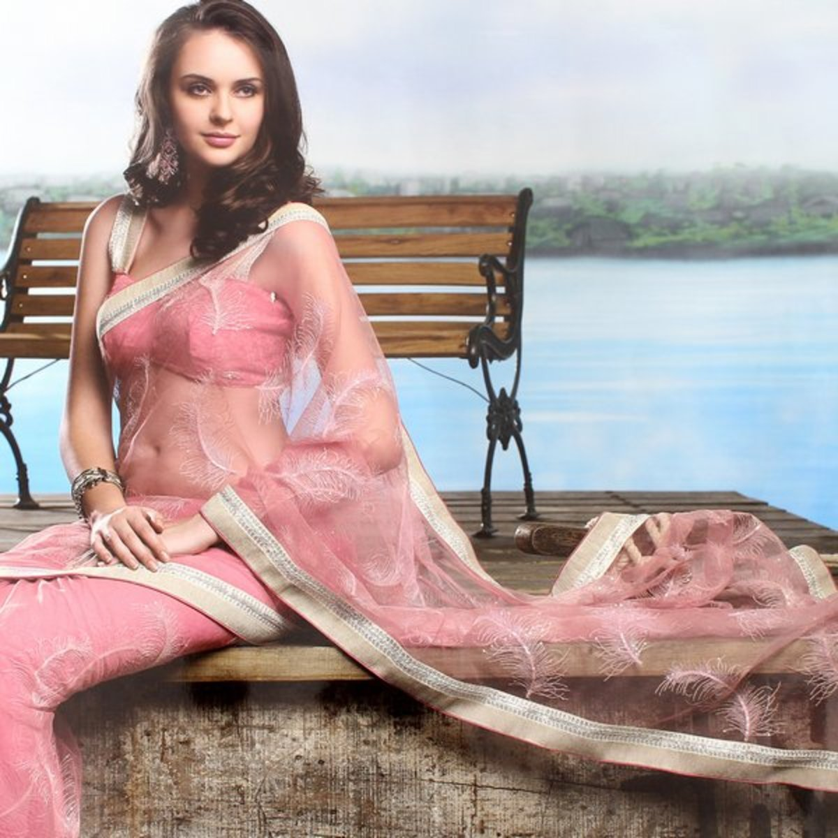 See through Pink Engagement Saree