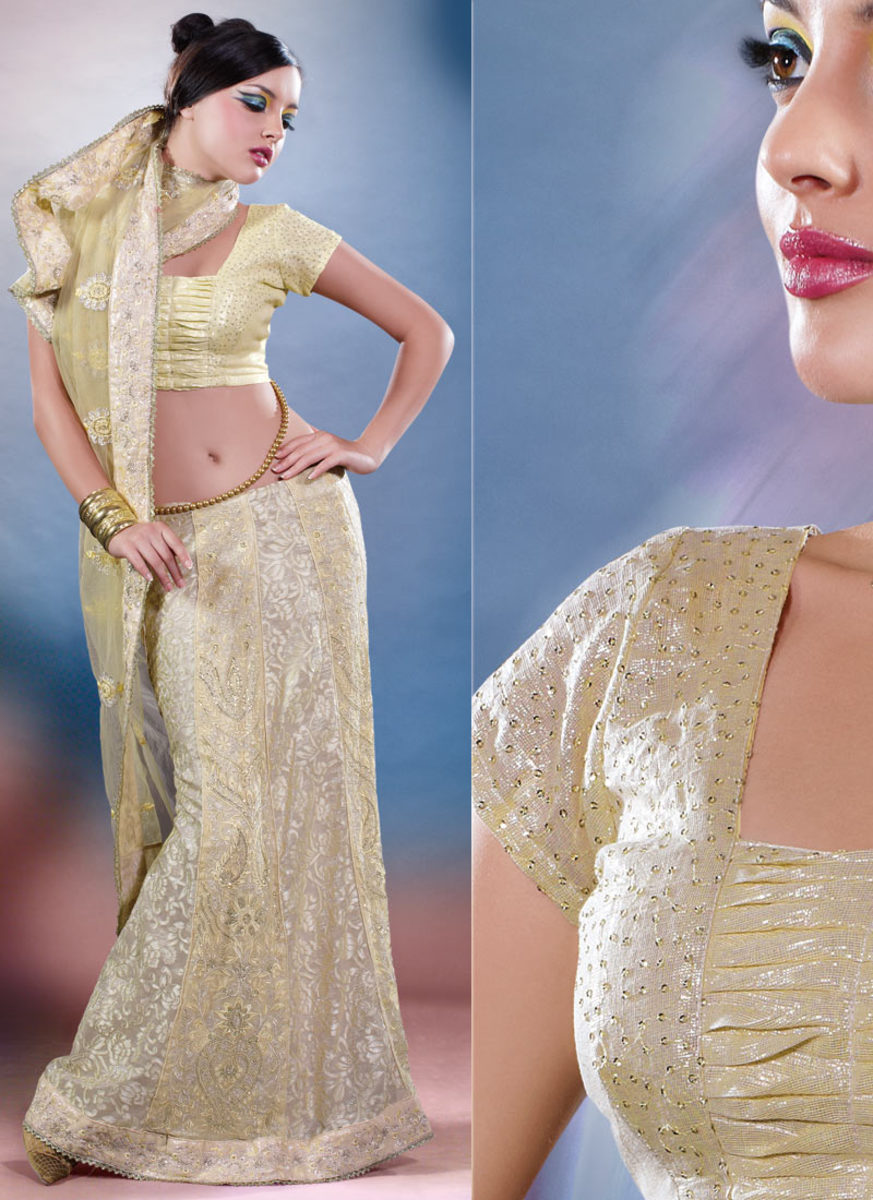 Pale yellow engagement lahenga