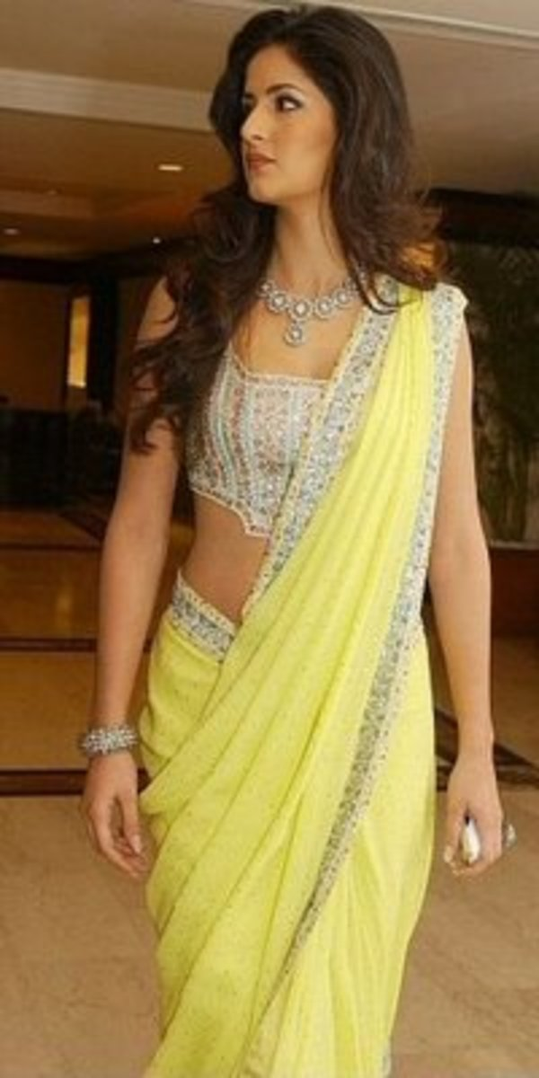 Pale yellow saree