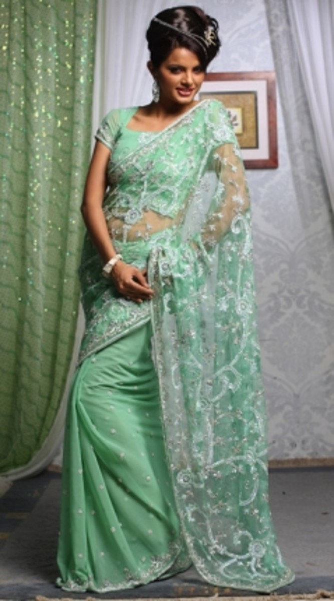 Light Greenish Turquoise engagement saree