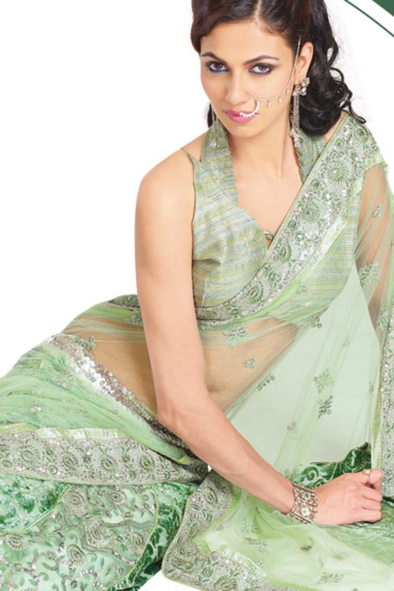 Pale Green Engagement saree