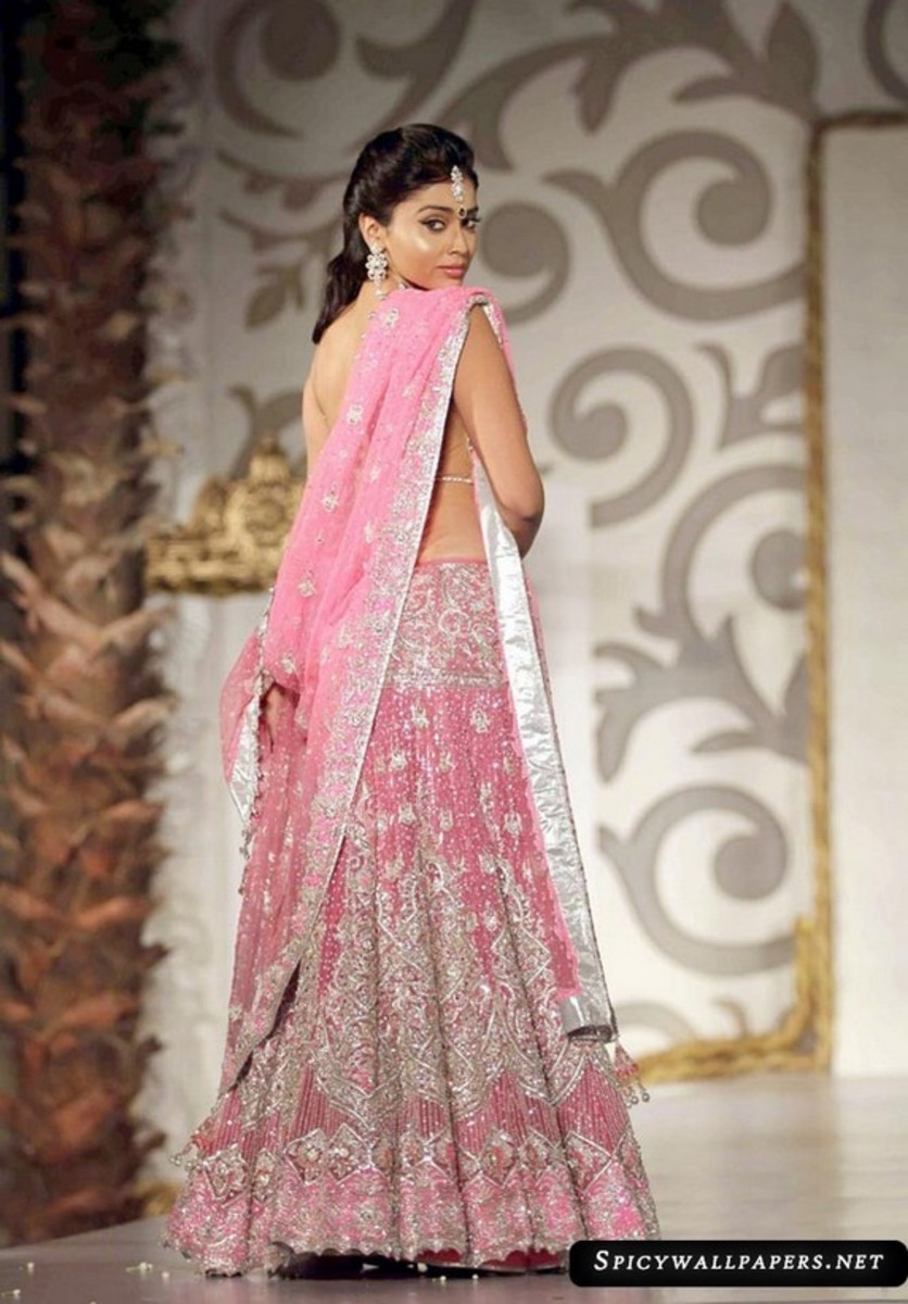 Unique Pink and Silver engagement saree