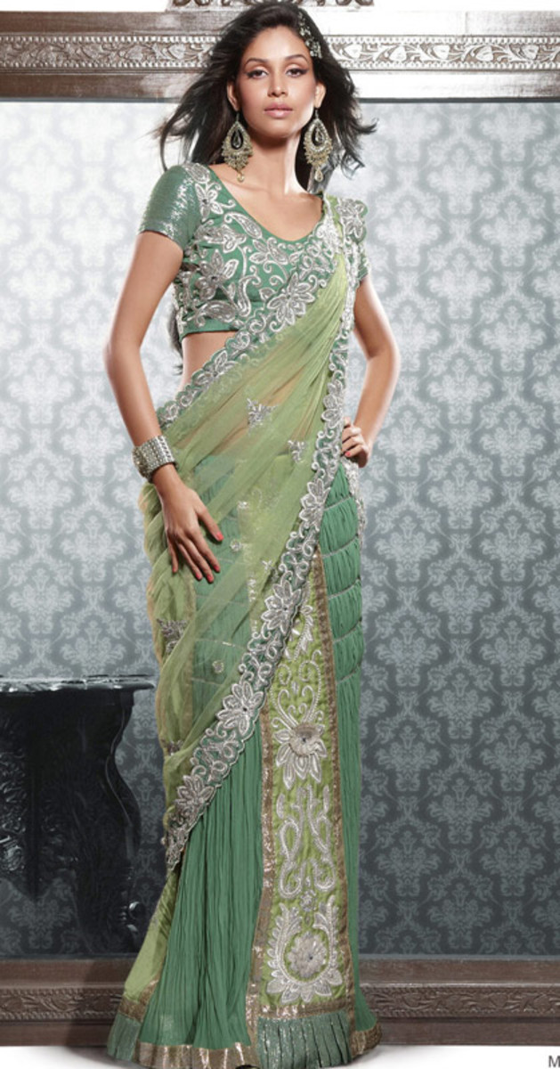 Unique Green engagement saree