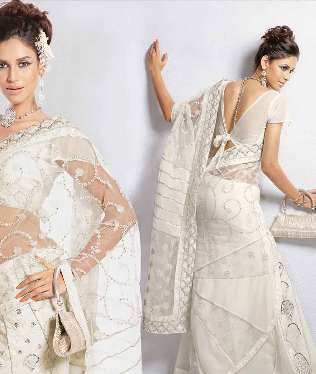 Clean White Engagement saree
