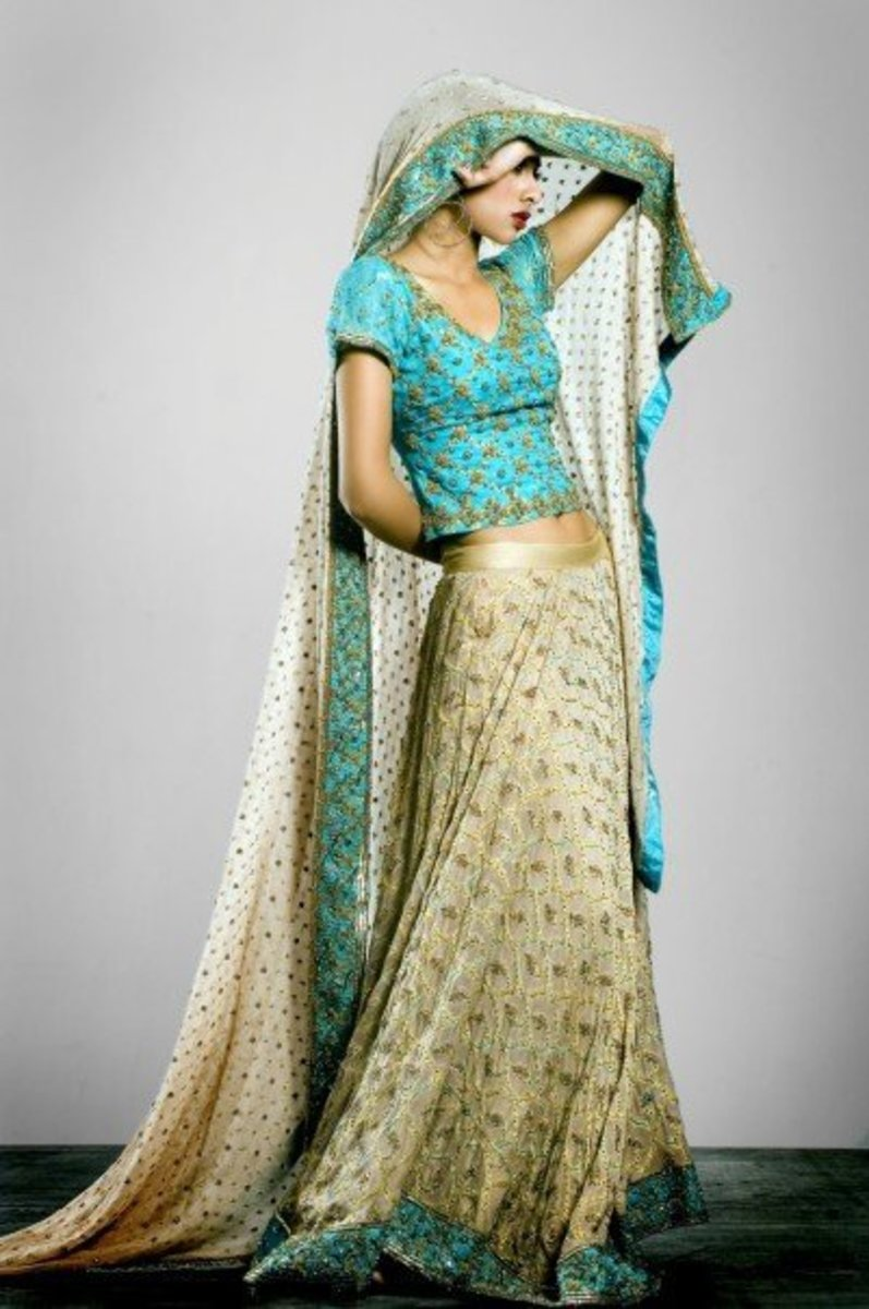Turquoise and cream Engagement Lahenga