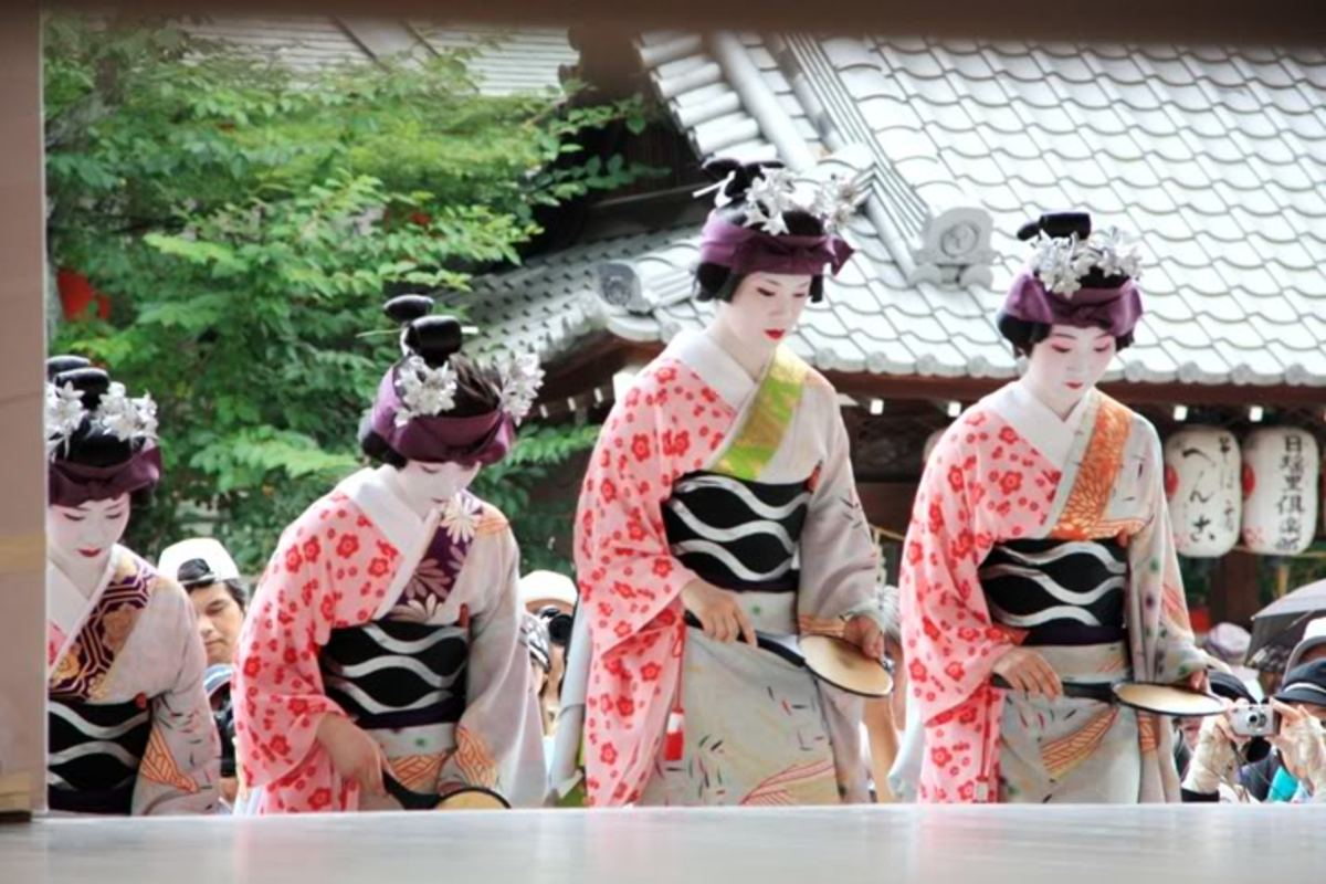 Maiko san at the performance in a temple of Kyoto city, 2009