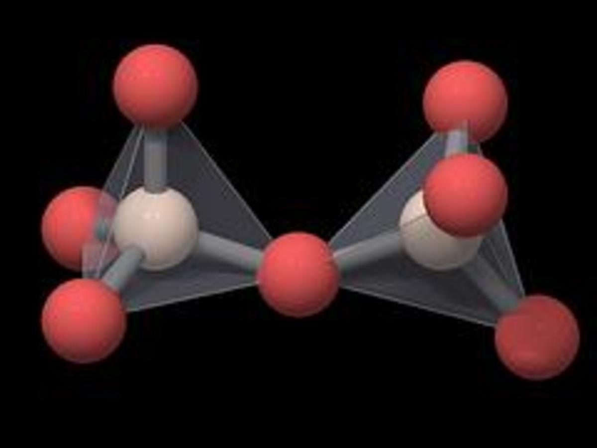Quartz Crystal Structure - Red color balls represent oxygen atoms and the white color balls represent silicon