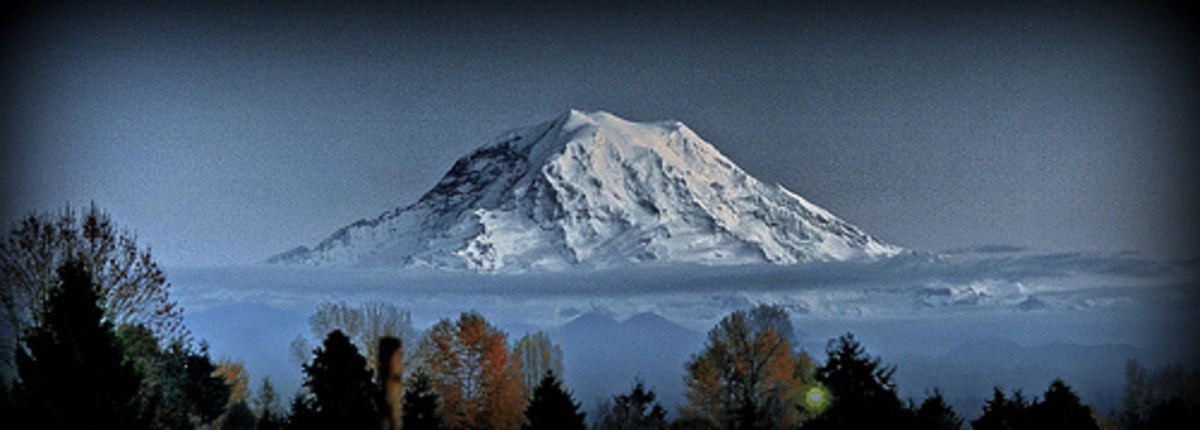 Heart stopping view of Mount Rainier. It can be seen throughout the region.