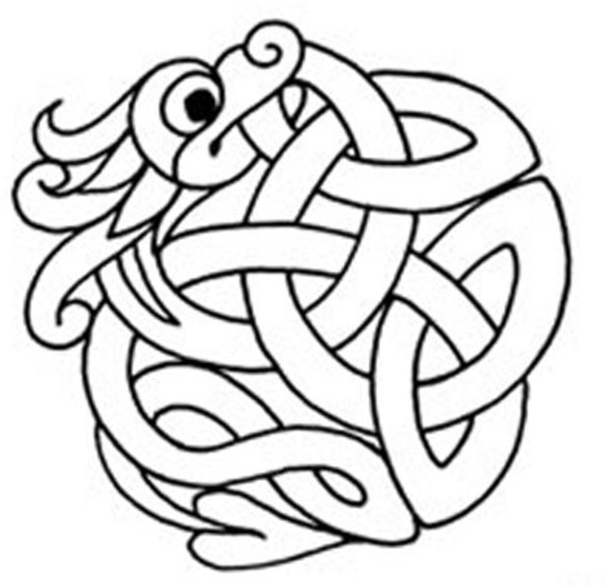 Celtic Design Art Coloring Pages for Kids Colouring Pictures to Print - Serpent