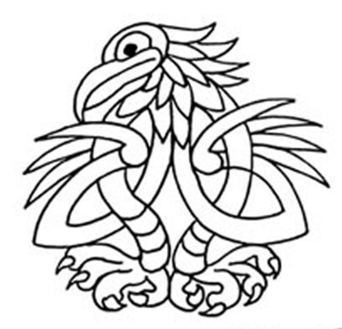 Celtic Design Art Coloring Pages for Kids Colouring Pictures to Print - Eagle