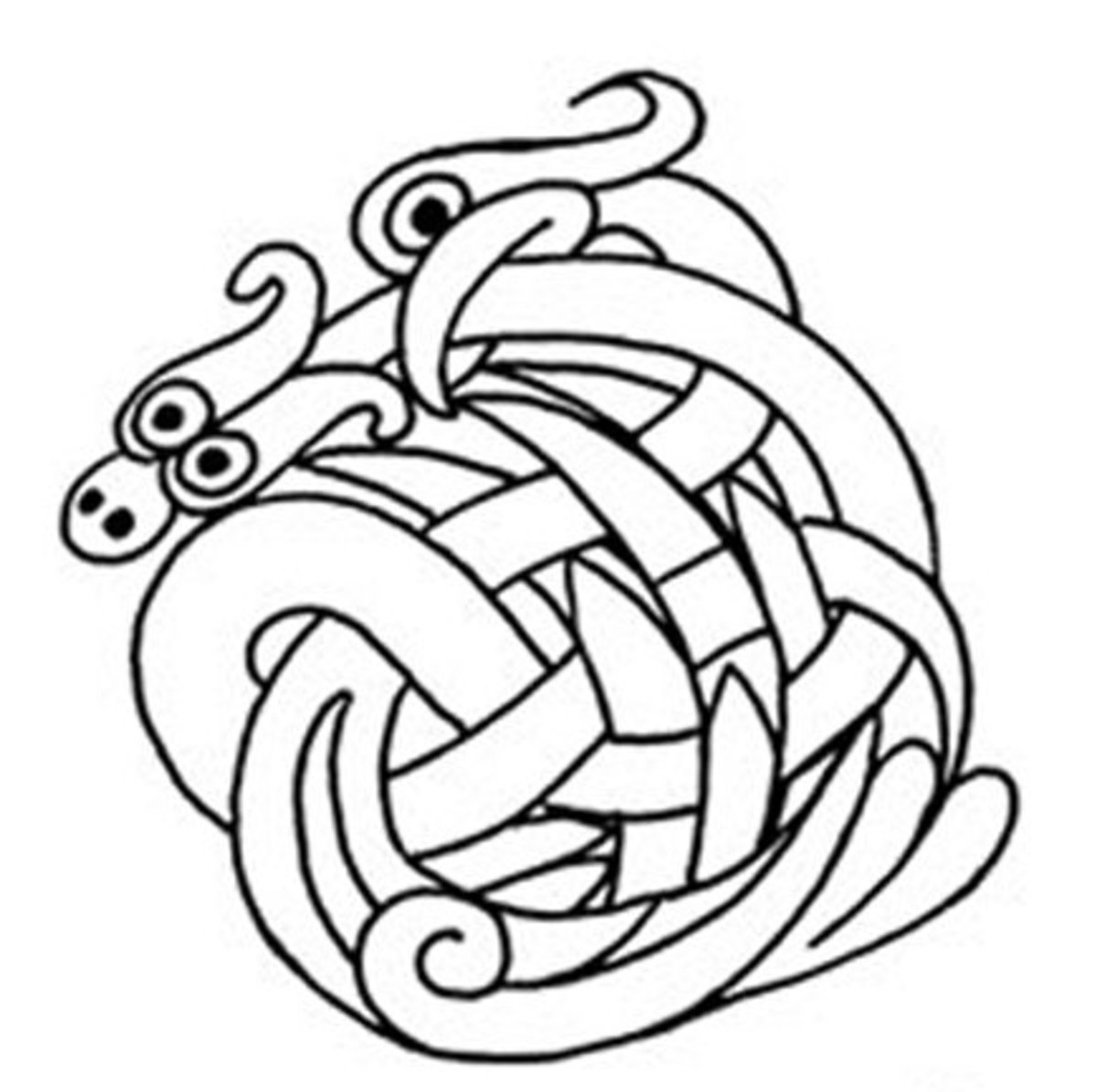 Celtic Design Art Coloring Pages for Kids Colouring Pictures to Print - Two Head Serpent