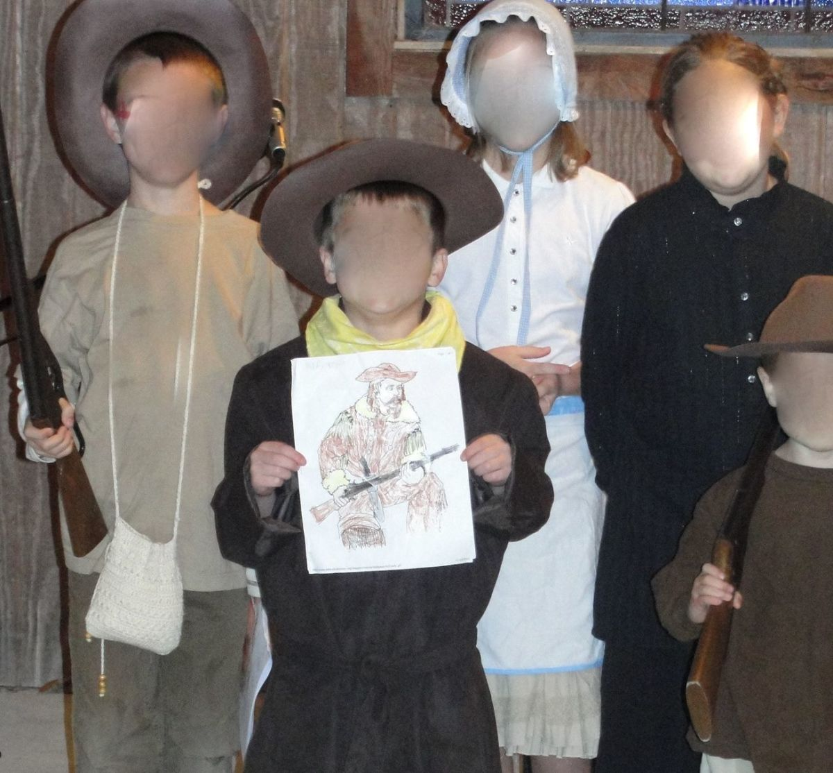 Children dressed as Jim Bridger, Buffalo Bill, Laura Ingalls Wilder, Narcissa Whitman, and Jed Smith