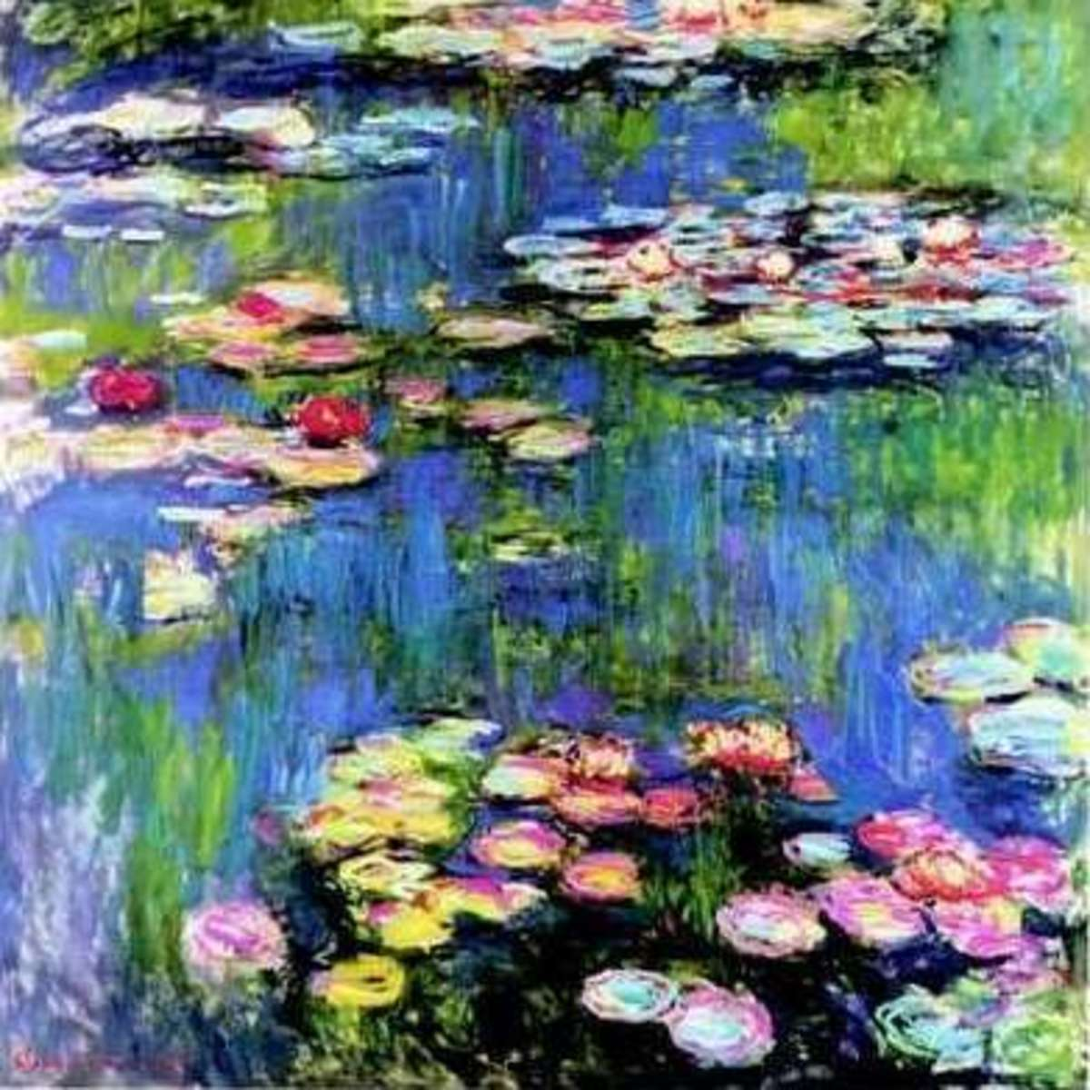 free cross stitch pattern Monet Waterlies painting