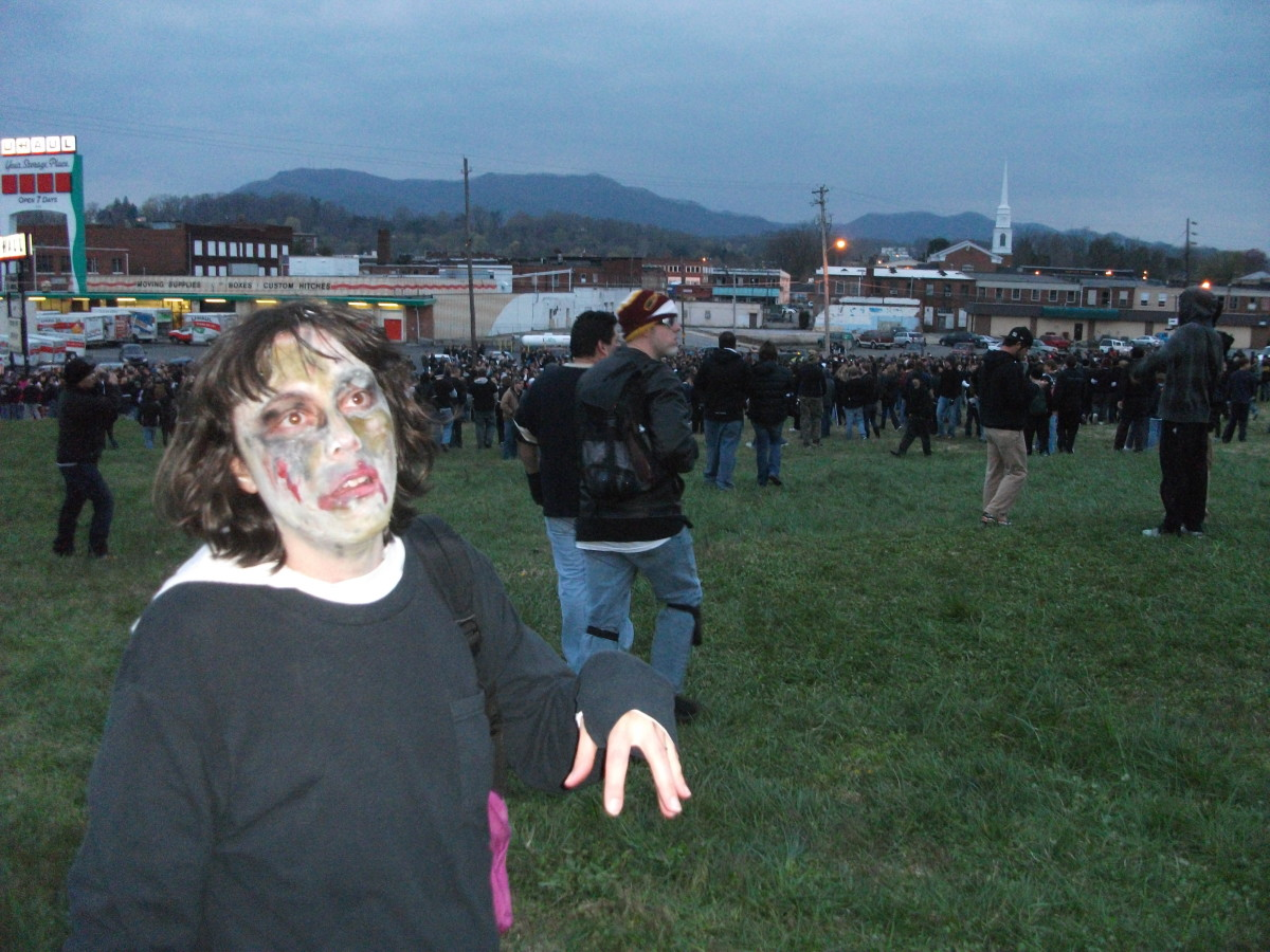 Crowd of zombie tag players waiting for the game to begin.
