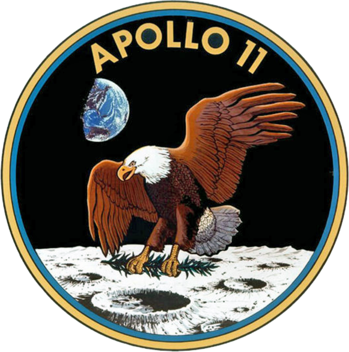 The Apollo 11 insignia used as a basis for the design of the reverse of the Eisenhower dollar.