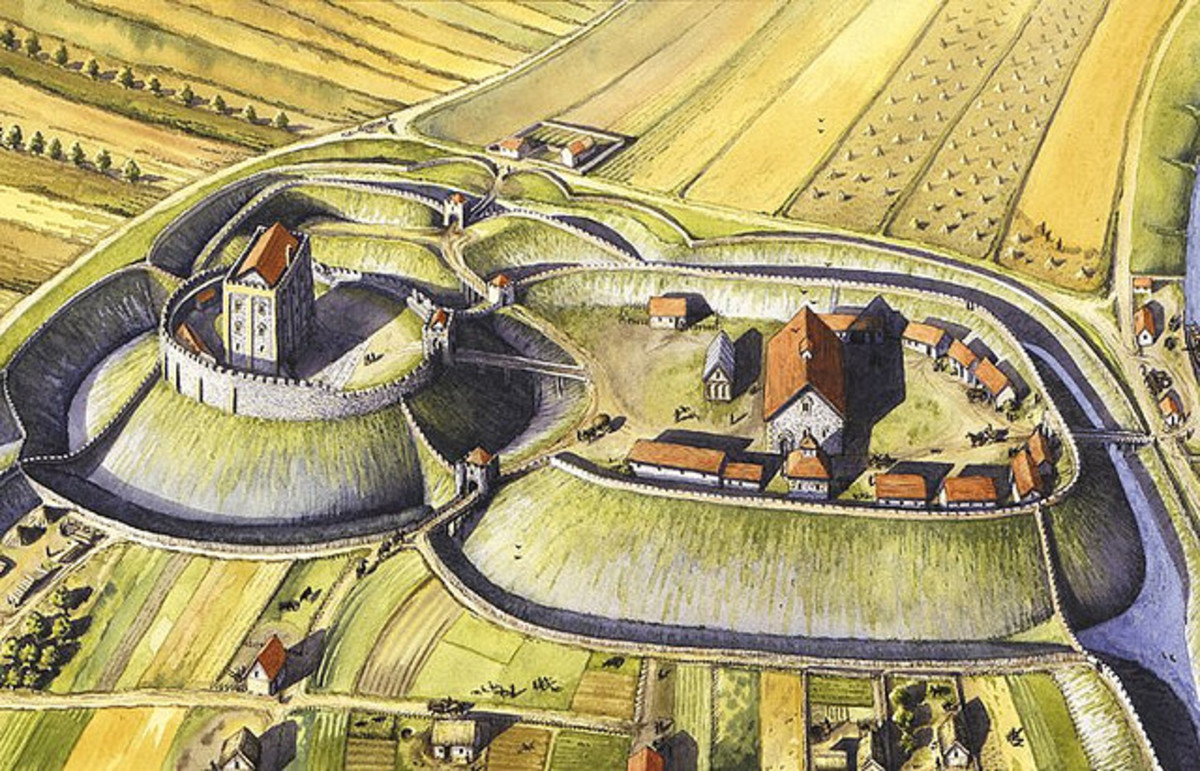 Reconstruction of the later stone fortifications laid down at Castle Acre near Swaffham, Norfolk