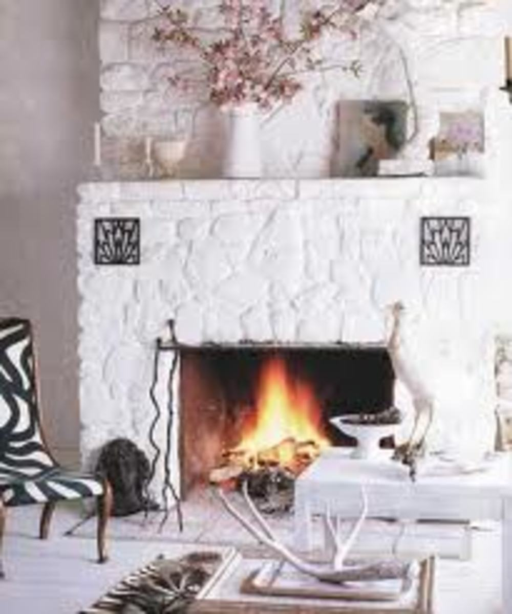 Another example of a saturated white fireplace that works well
