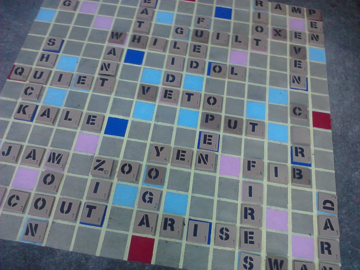 Backyard Scrabble board with words in play