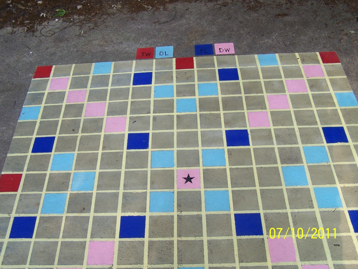 Outdoor Scrabble board on concrete