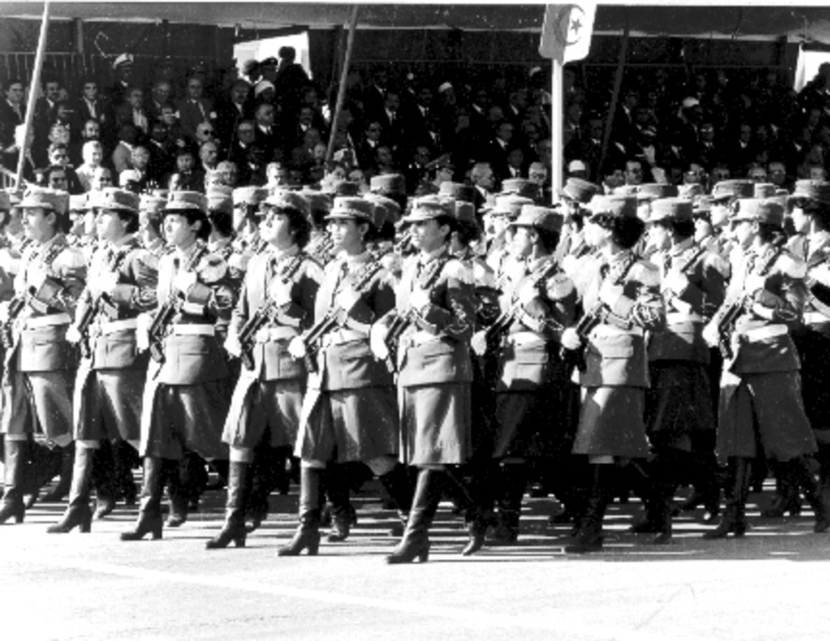 Women's unit of People's National Army parading at ceremonies commemorating November 1, 1954, launch of Algerian War of Independence