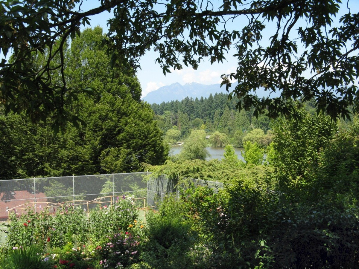Looking from the tennis courts over Lost Lagoon, with the North Shore Mountains in the background