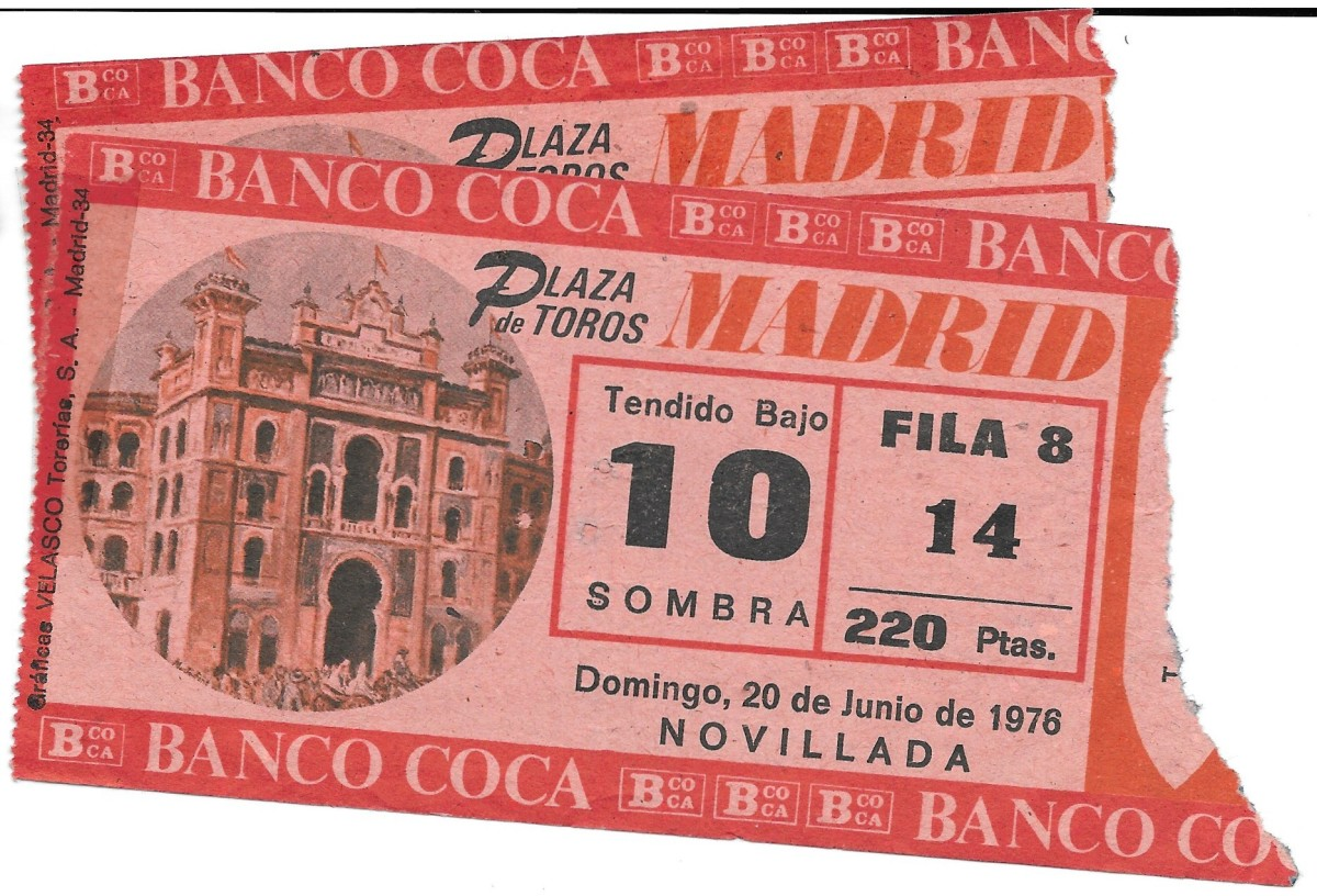 Our Bullfight ticket stubs