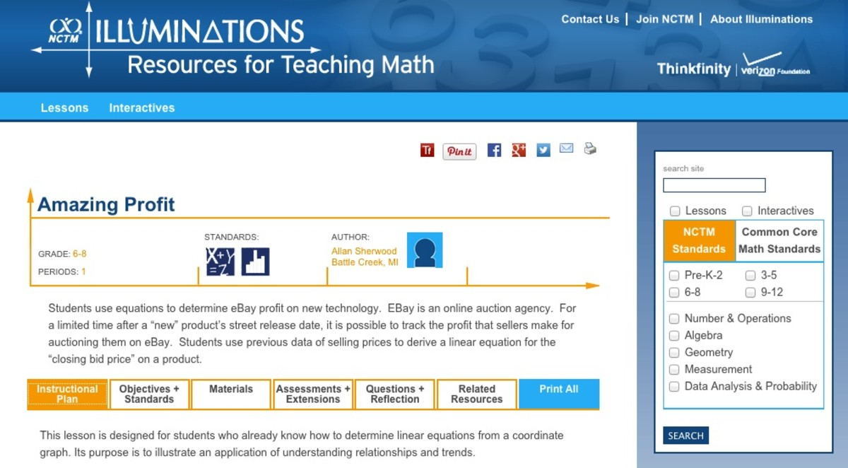 NCTM Illuminations website with lessons on finances and economics for grades preK-8