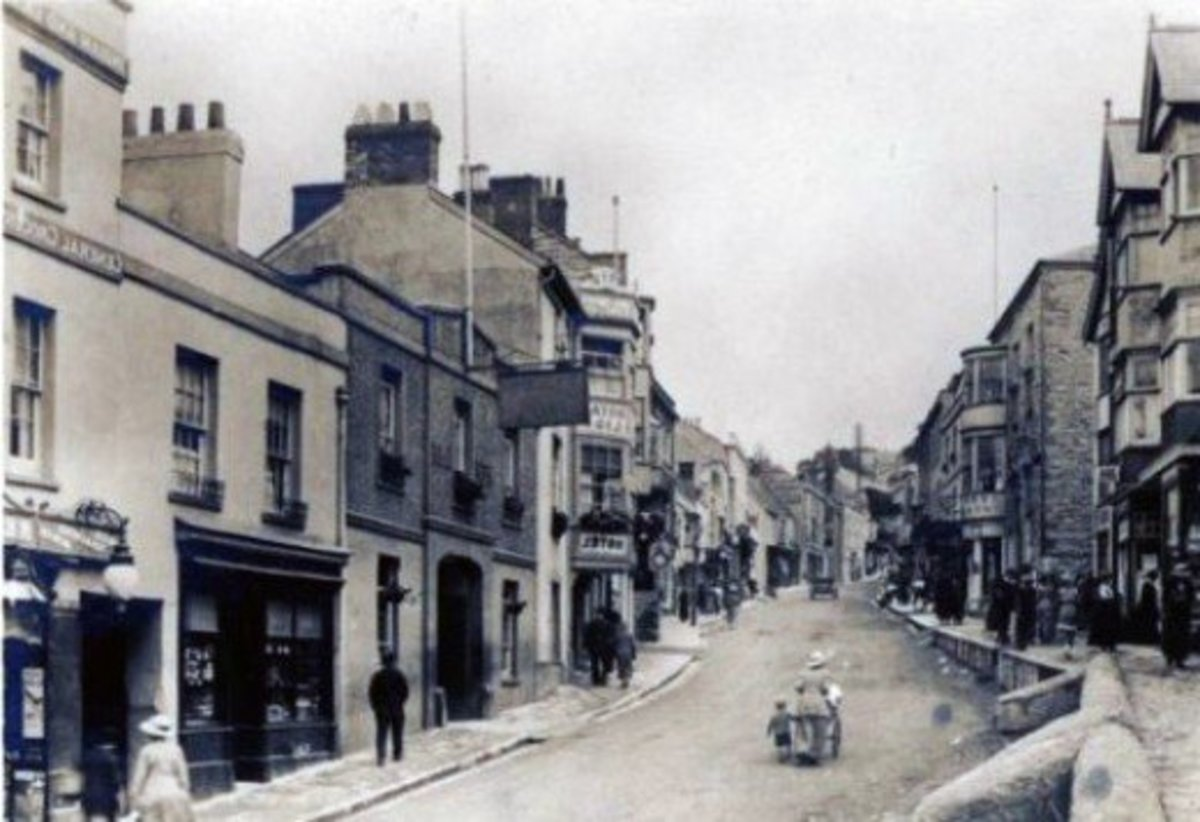 Old photo of Broad street,Lyme Regis,Dorset,UK