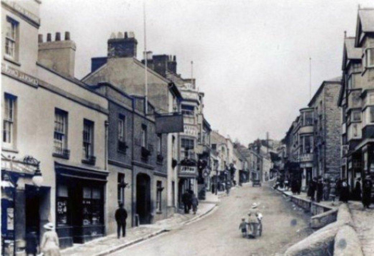 Old photo of Broad street,Lyme Regis,Dorset,UK