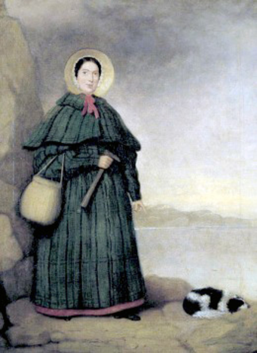 "Mary Anning,the fossil woman and her loyal Terrier ""Tray"""