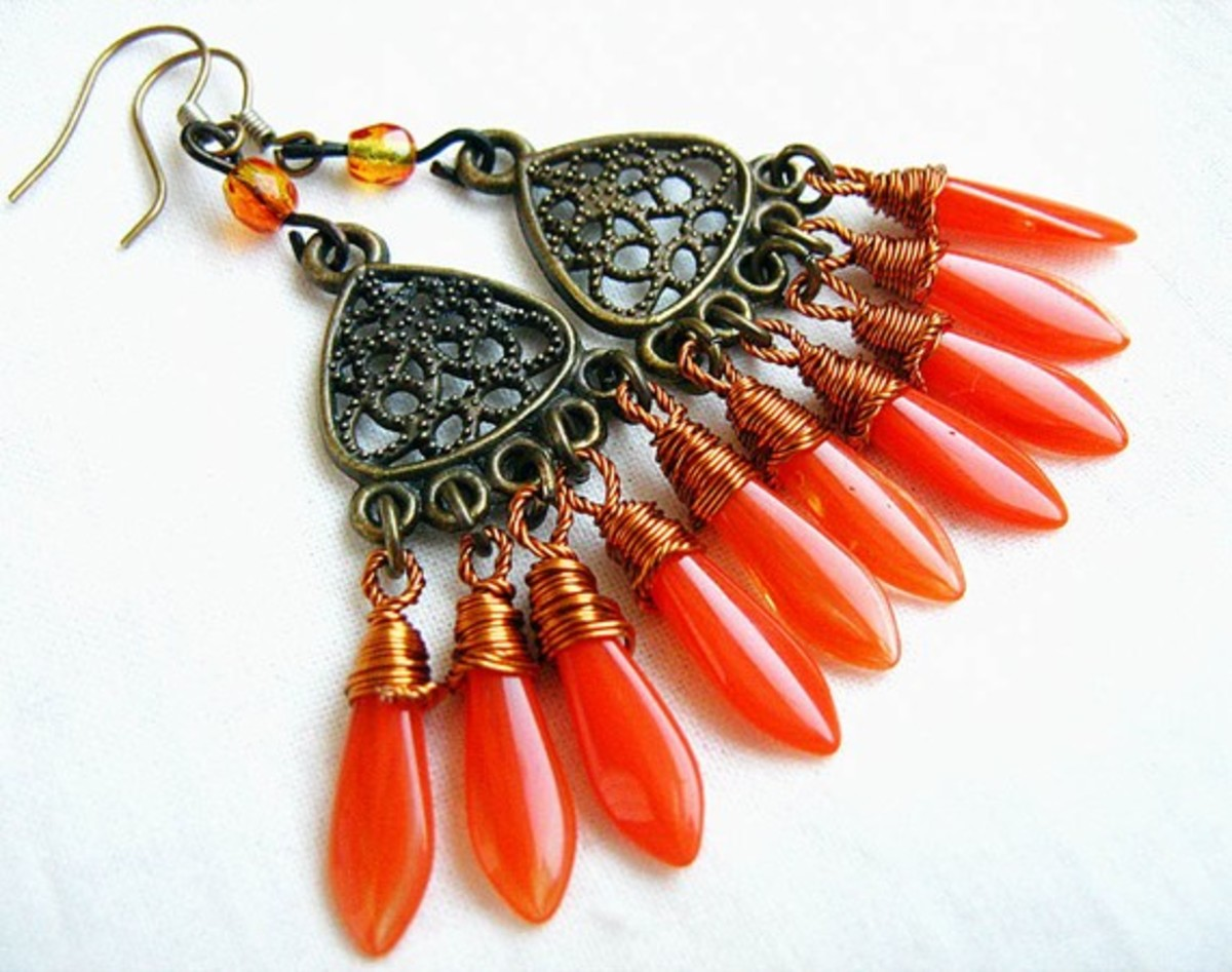 This is an awesome option for those who love wire wrapping.  The orange is amazing in this piece, especially paired with the copper.