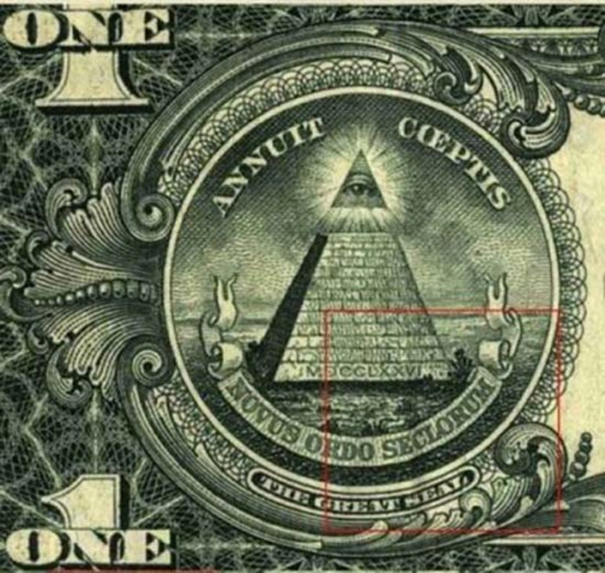 Mysterious Eye of Anti Christ on the first One Dollar Note