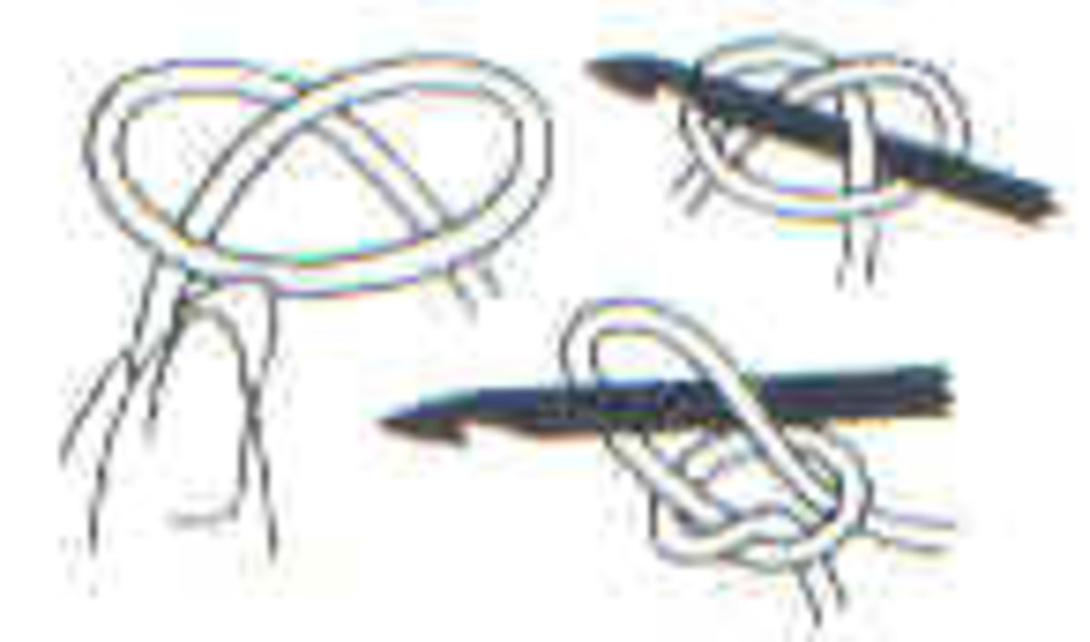 Make loop with yarn; Pull yarn up through loop with hook; Tighten knot.