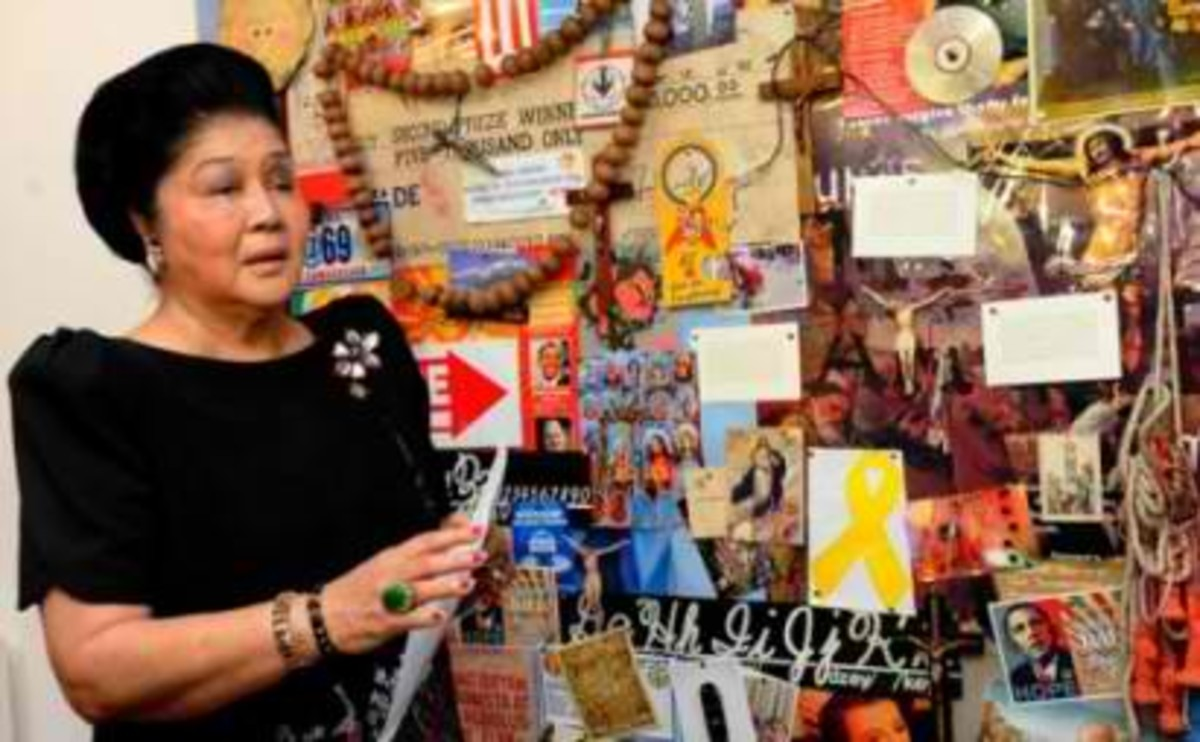 Congresswoman Imelda Marcos urged to stop the viewing of Mideo Cruz' artwork at the main gallery of CCP. (Photo courtesy of AFP)