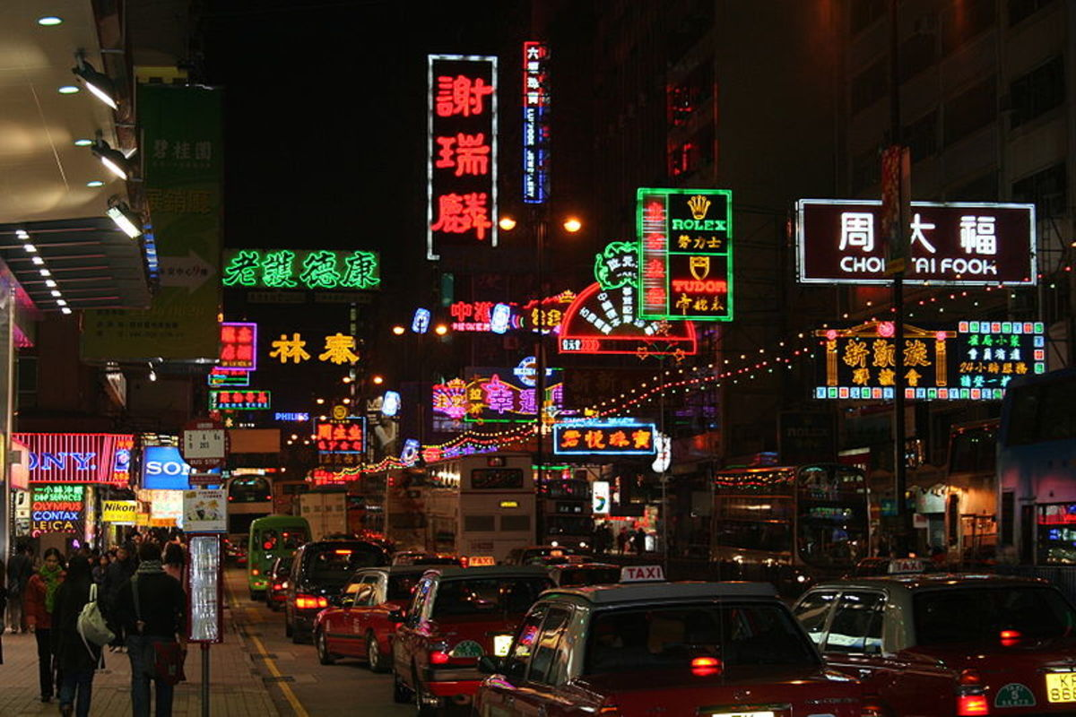 A typical busy street in Hong Kong at night