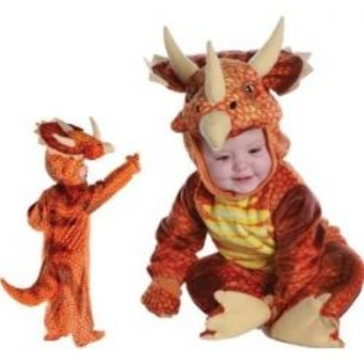 Baby and Child Rust Triceratops Dinosaur Costume