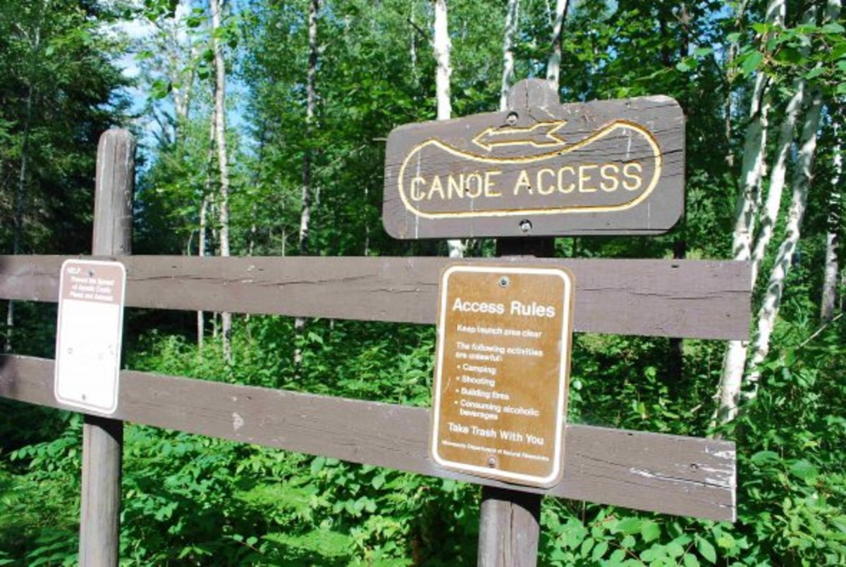 Canoe Access sign at parking area