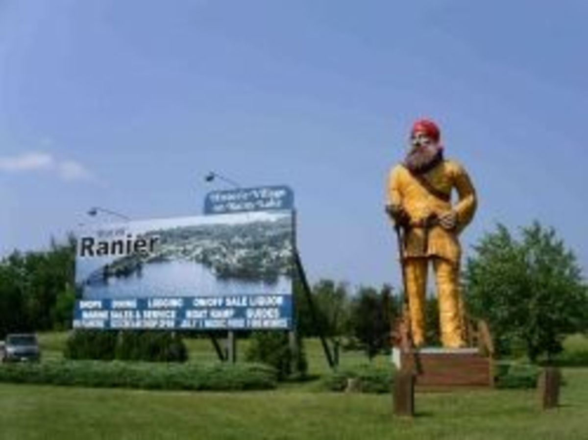 Big Vic greets visitors to Ranier, MN.