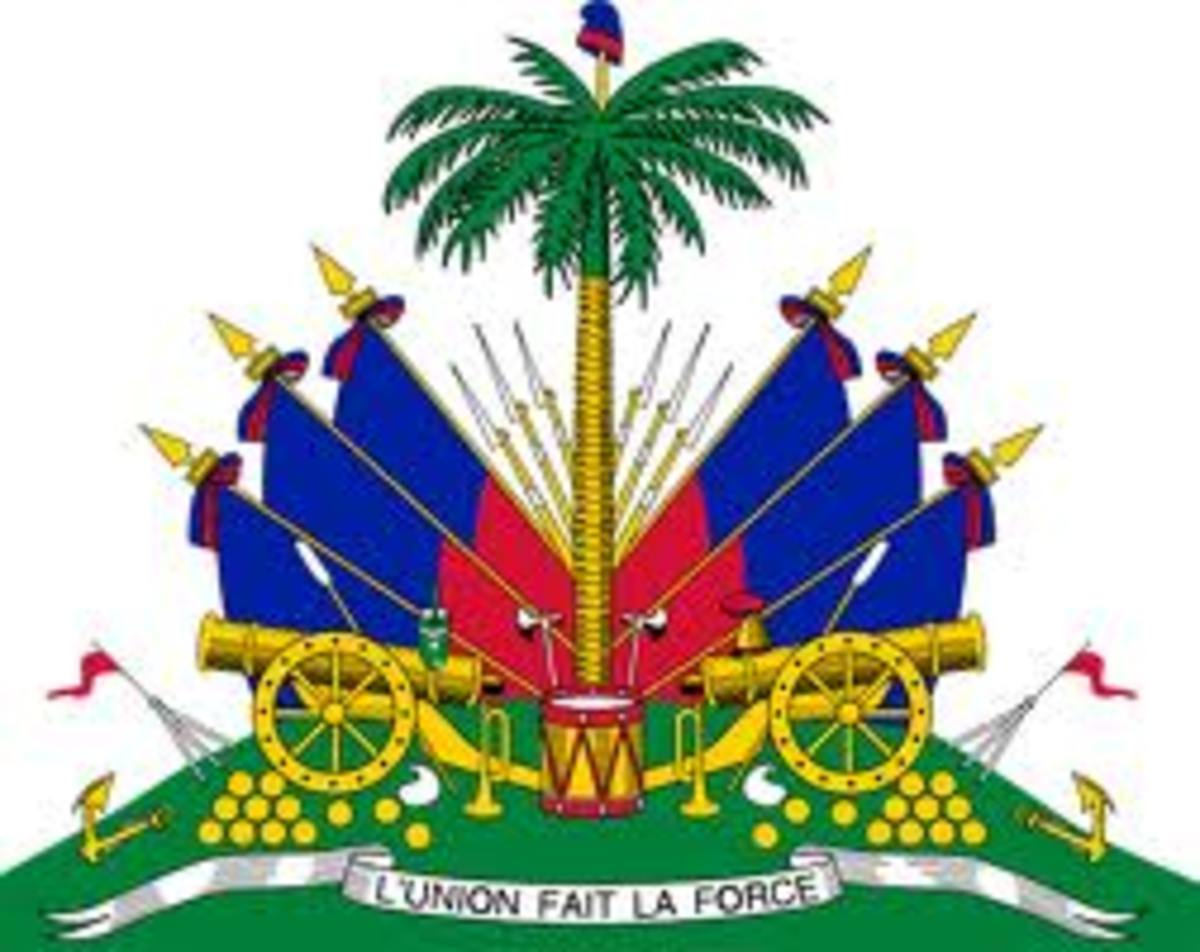 Haiti's coat of arms. The motto reads L'union Fiat La Force which translates Unity Is Strength