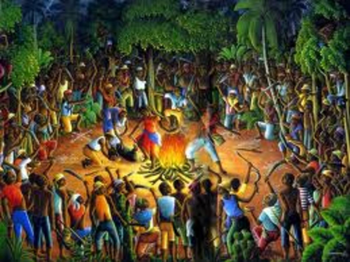 A depiction of the Voodun ceremony done by Boukman before the start of the Revolution